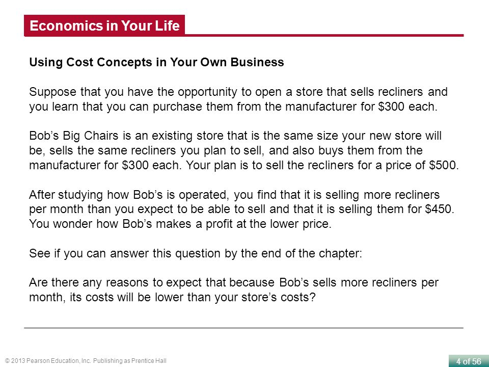Economics in Your Life Using Cost Concepts in Your Own Business