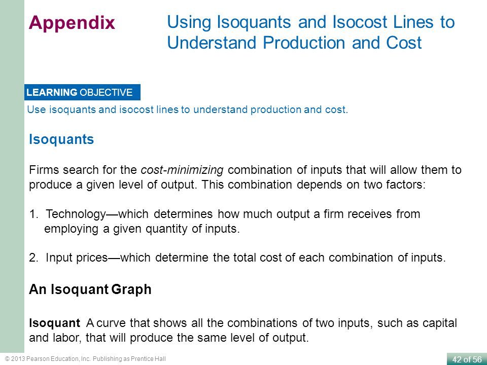 Appendix Using Isoquants and Isocost Lines to Understand Production and Cost. LEARNING OBJECTIVE.