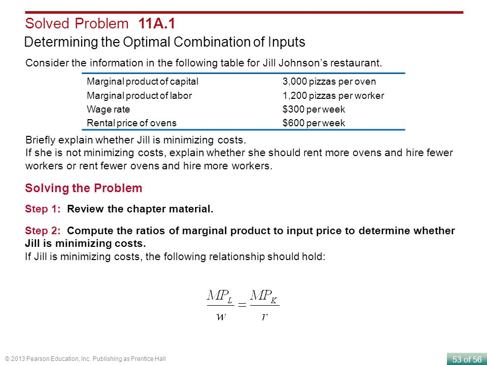 Solved Problem 11A.1 Determining the Optimal Combination of Inputs