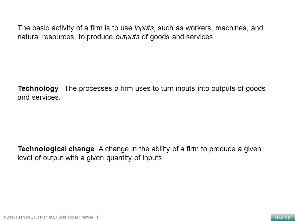 The basic activity of a firm is to use inputs, such as workers, machines, and natural resources, to produce outputs of goods and services.