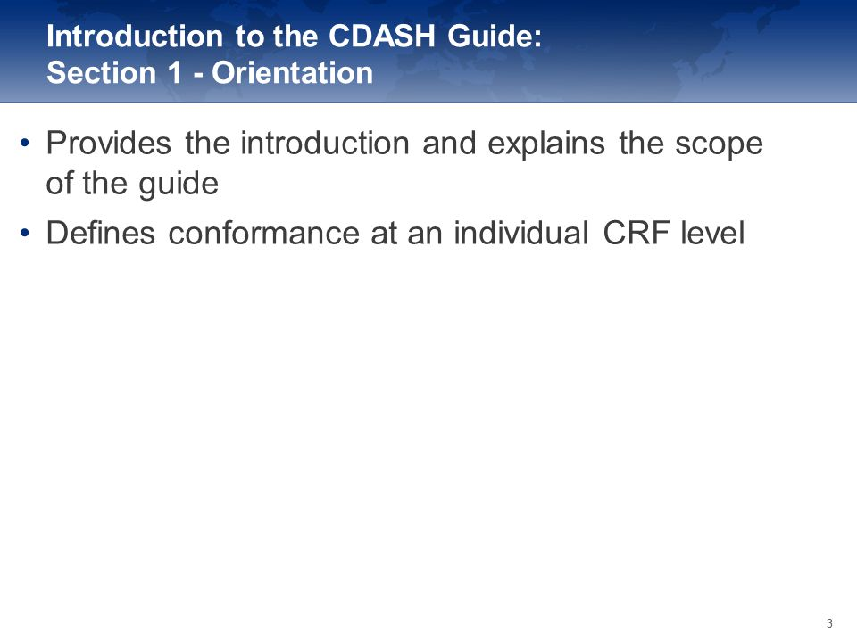 Introduction to the CDASH Guide: Section 1 - Orientation
