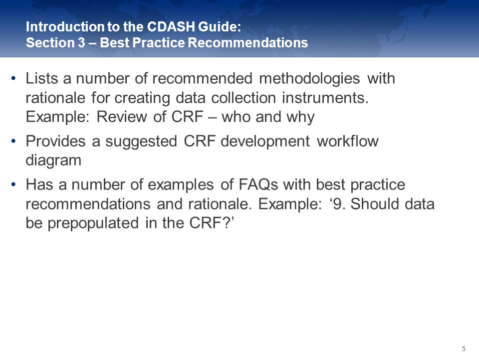 Provides a suggested CRF development workflow diagram