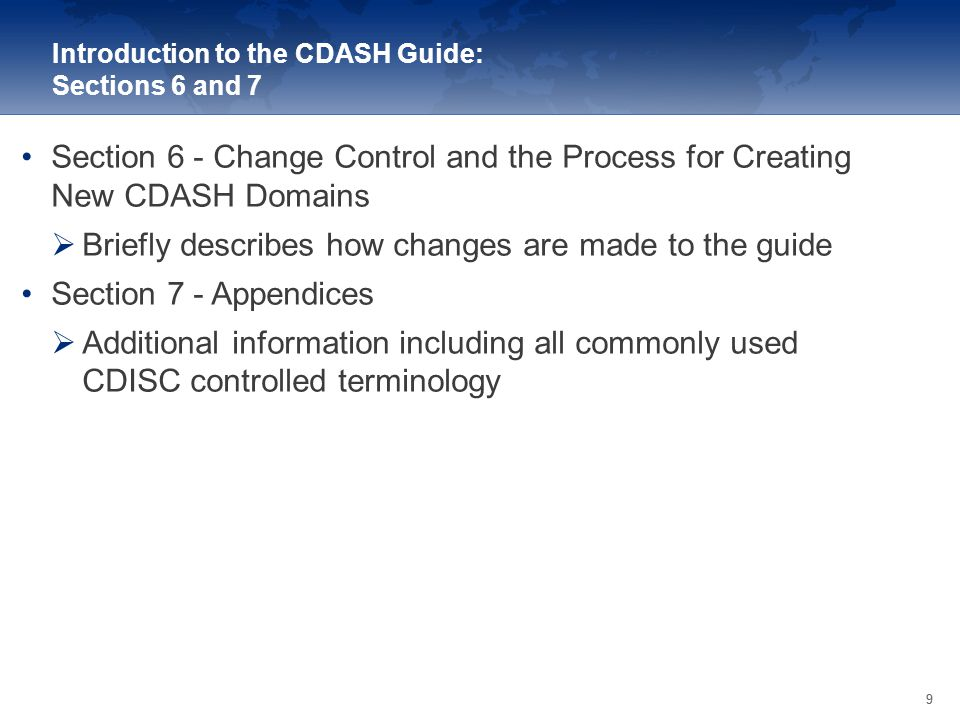 Introduction to the CDASH Guide: Sections 6 and 7