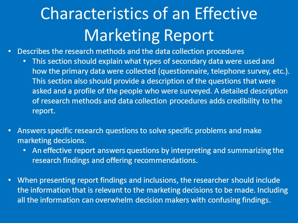 Characteristics of an Effective Marketing Report