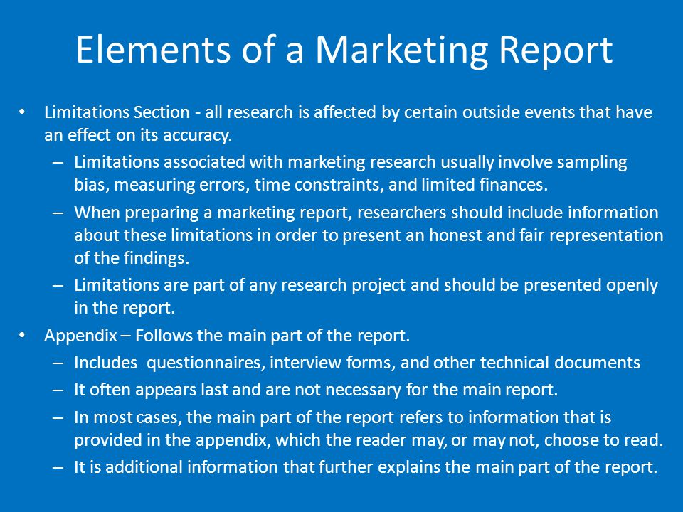 Elements of a Marketing Report