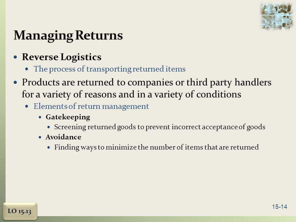 Managing Returns Reverse Logistics