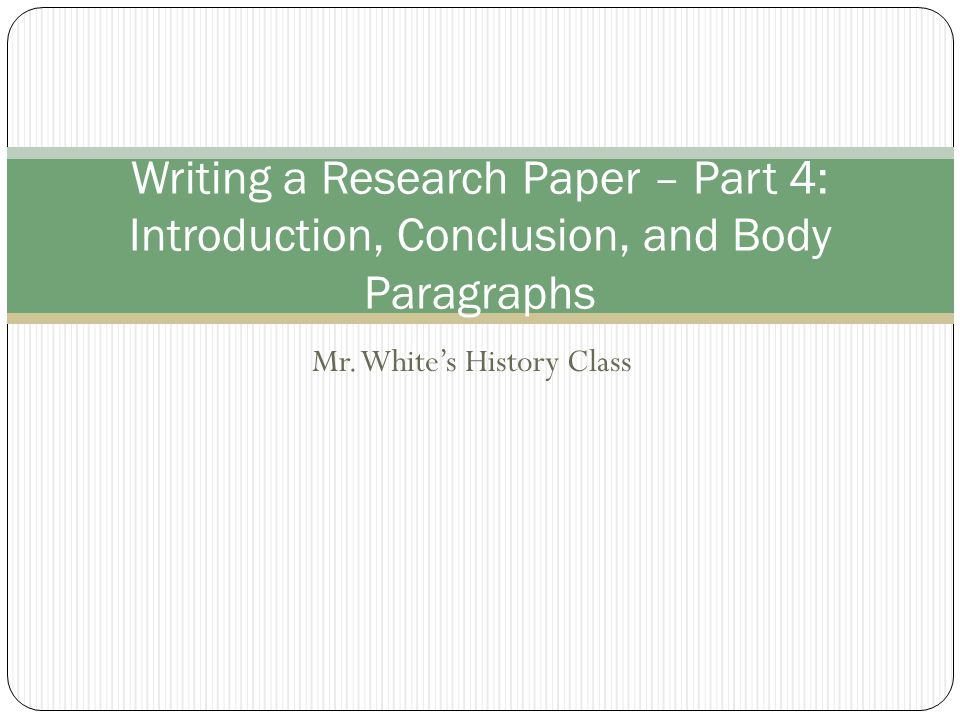 write introduction conclusion research paper
