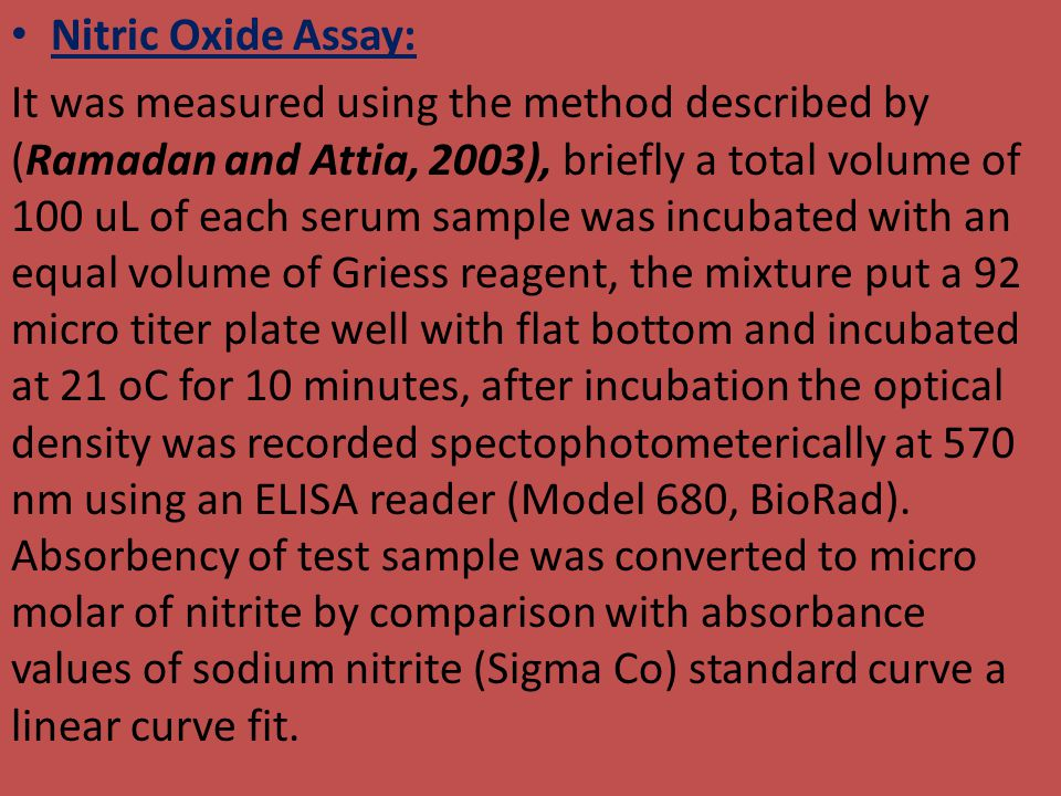Nitric Oxide Assay:
