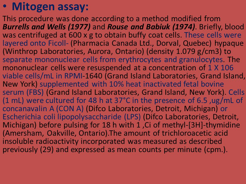 Mitogen assay: