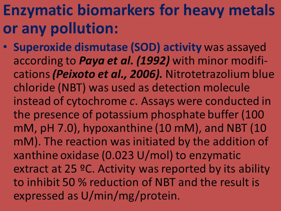 Enzymatic biomarkers for heavy metals or any pollution: