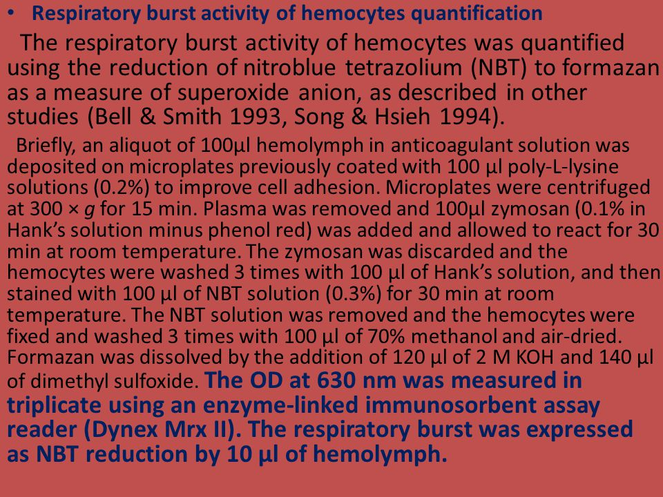 Respiratory burst activity of hemocytes quantification