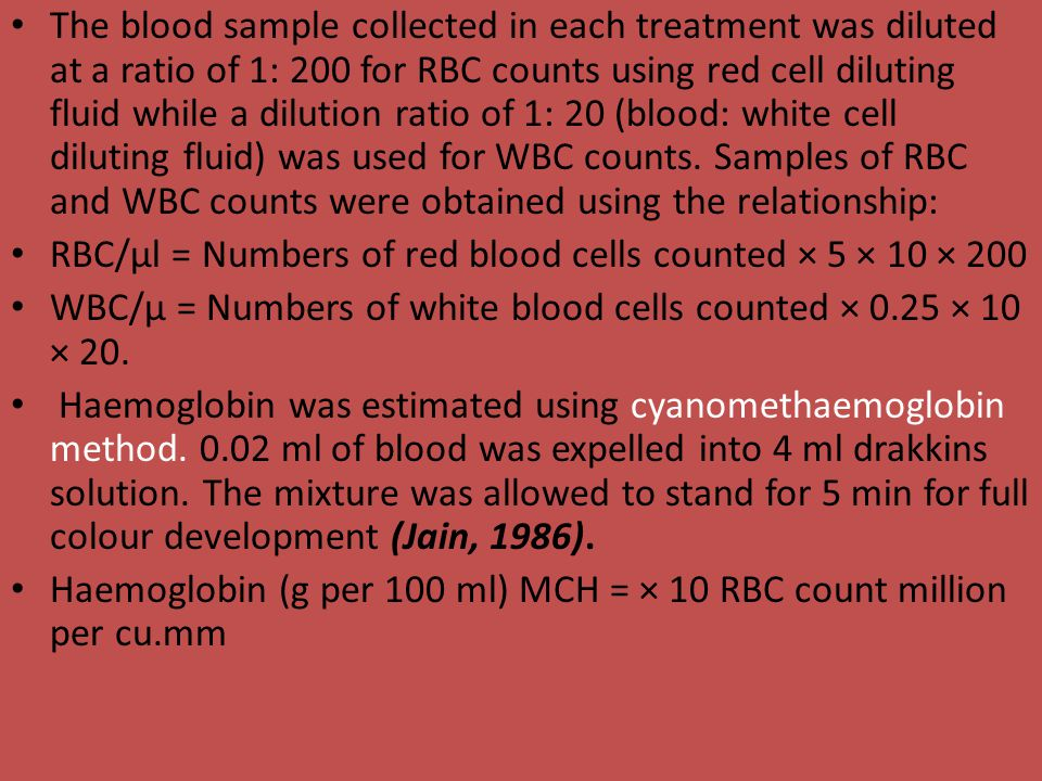 The blood sample collected in each treatment was diluted at a ratio of 1: 200 for RBC counts using red cell diluting fluid while a dilution ratio of 1: 20 (blood: white cell diluting fluid) was used for WBC counts. Samples of RBC and WBC counts were obtained using the relationship:
