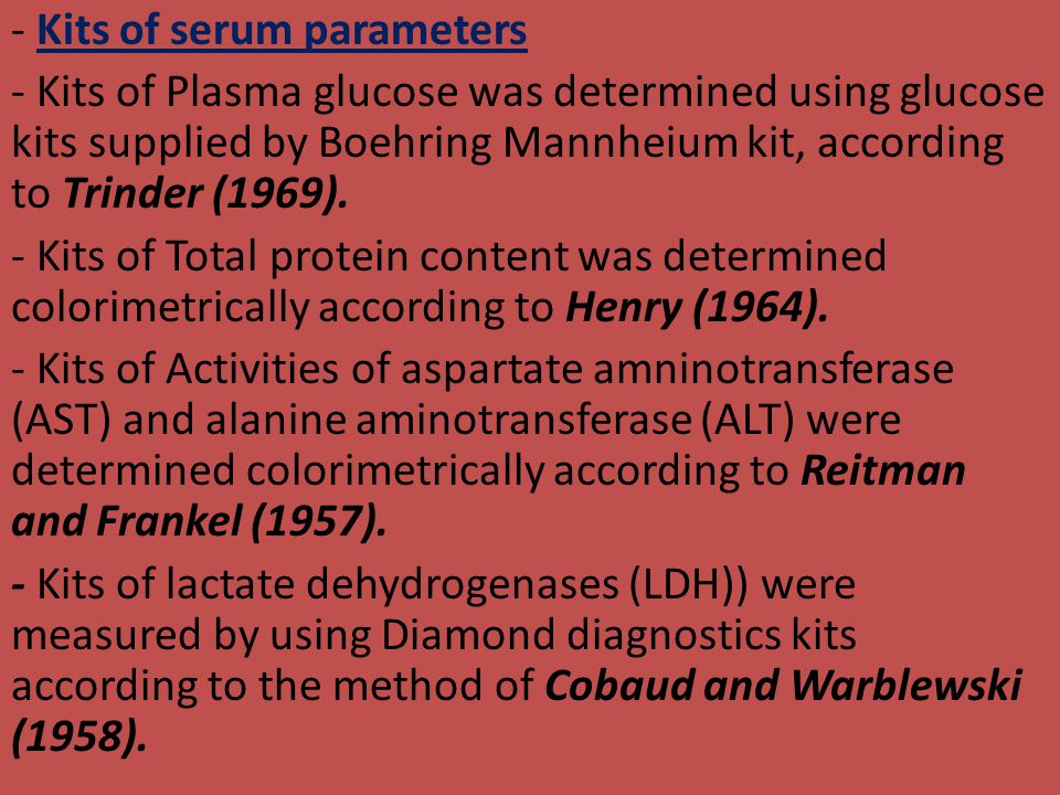 - Kits of serum parameters