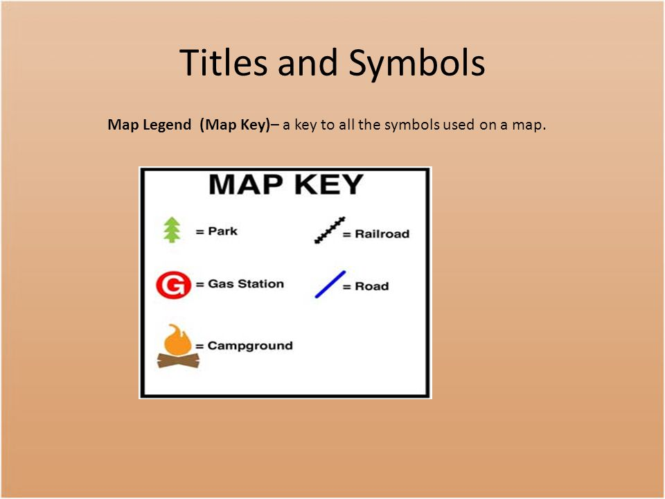 Map Legend (Map Key)– a key to all the symbols used on a map.