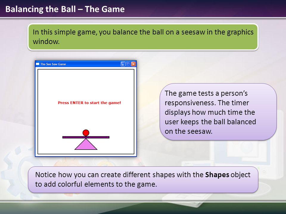Balancing the Ball – The Game