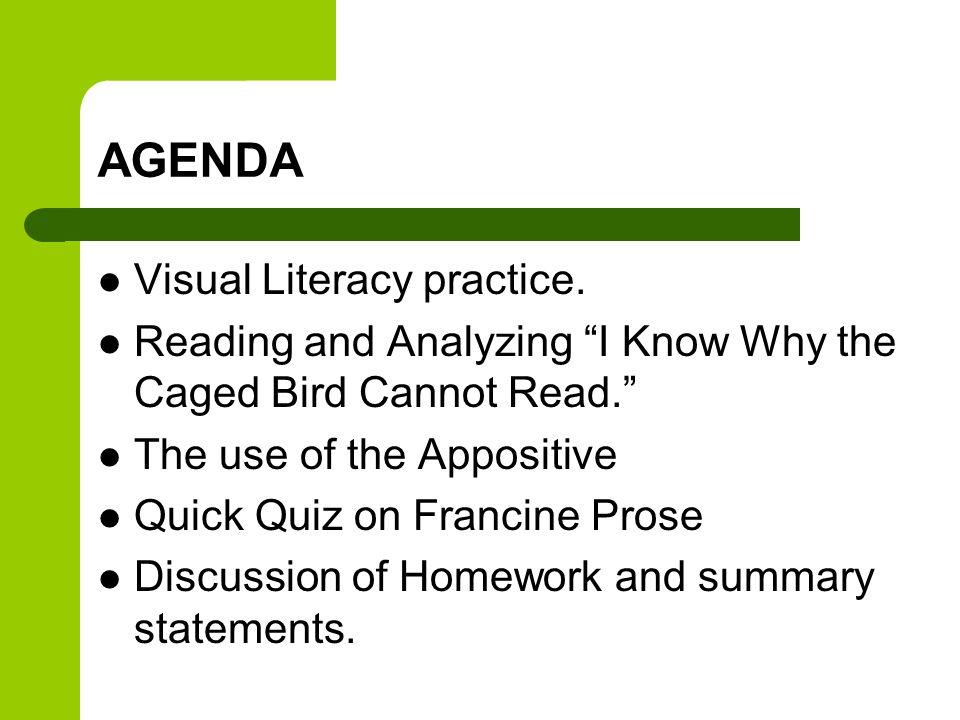 AGENDA Visual Literacy practice.