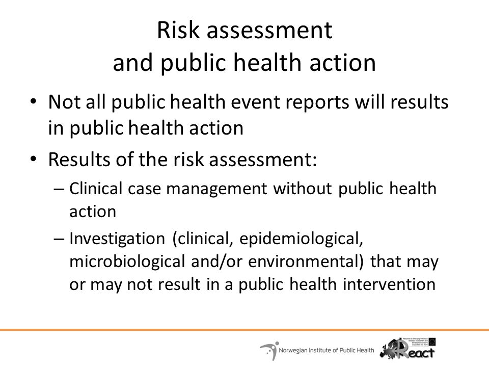 Risk assessment and public health action