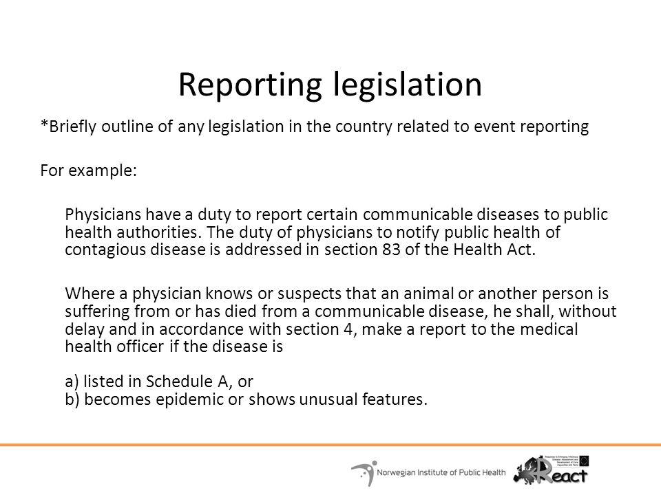 Reporting legislation