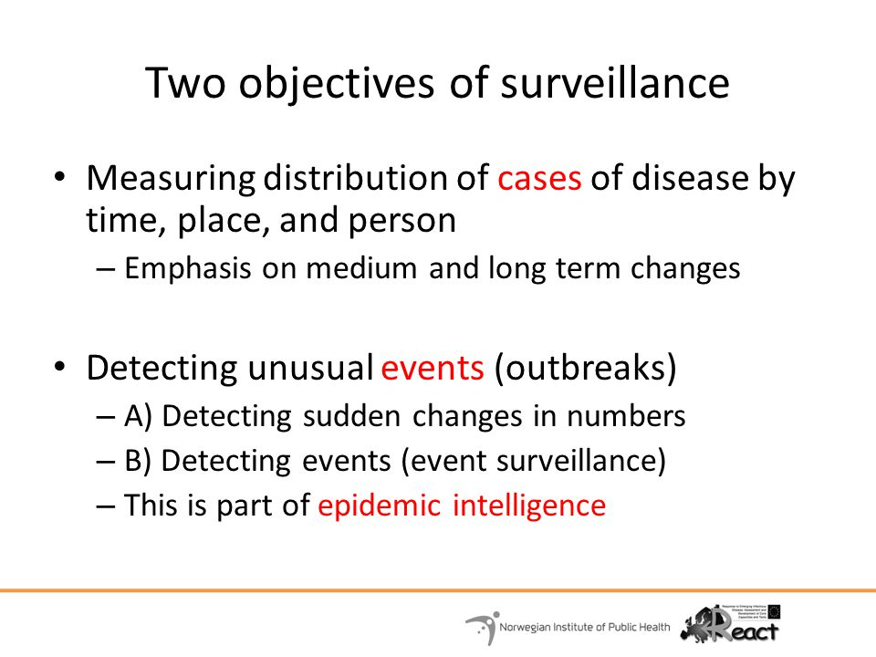 Two objectives of surveillance