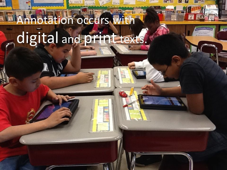 Annotation occurs with digital and print texts.