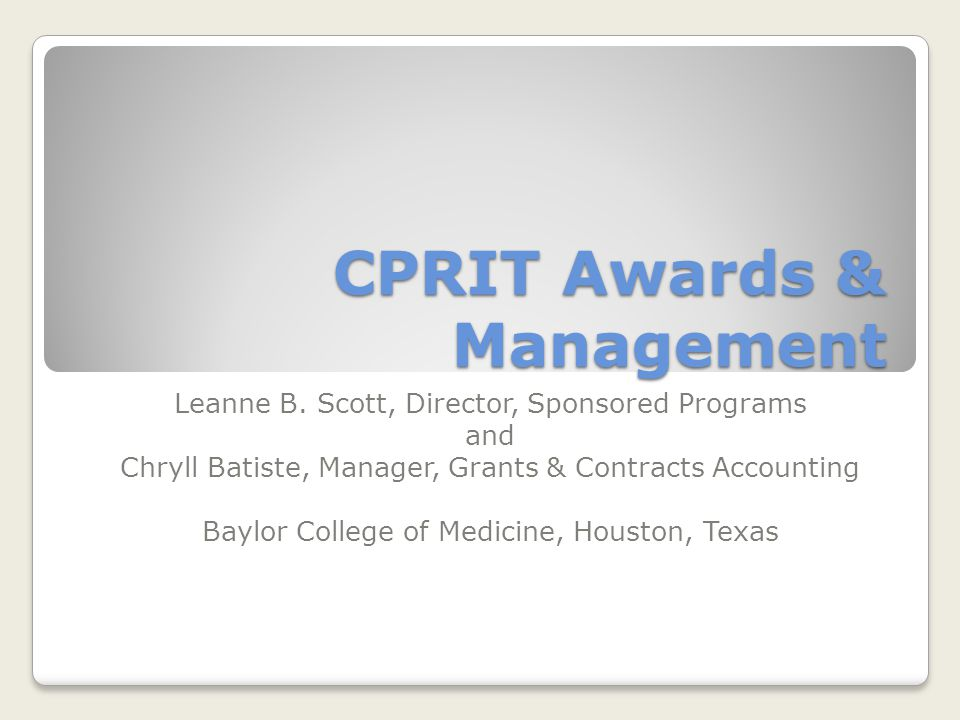 CPRIT Awards & Management