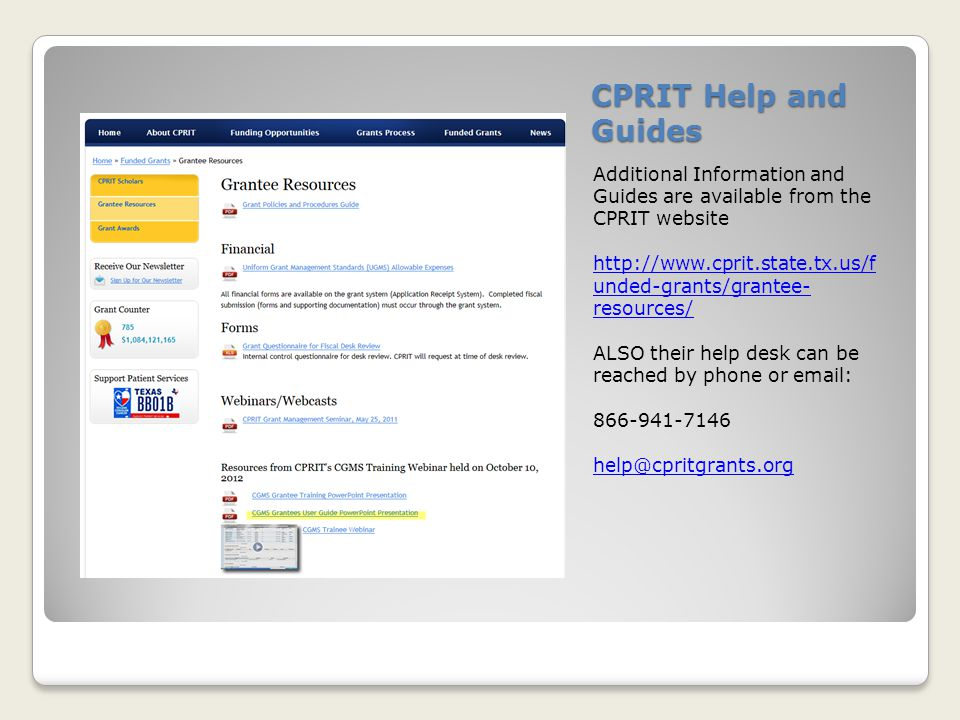 CPRIT Help and Guides Additional Information and Guides are available from the CPRIT website.