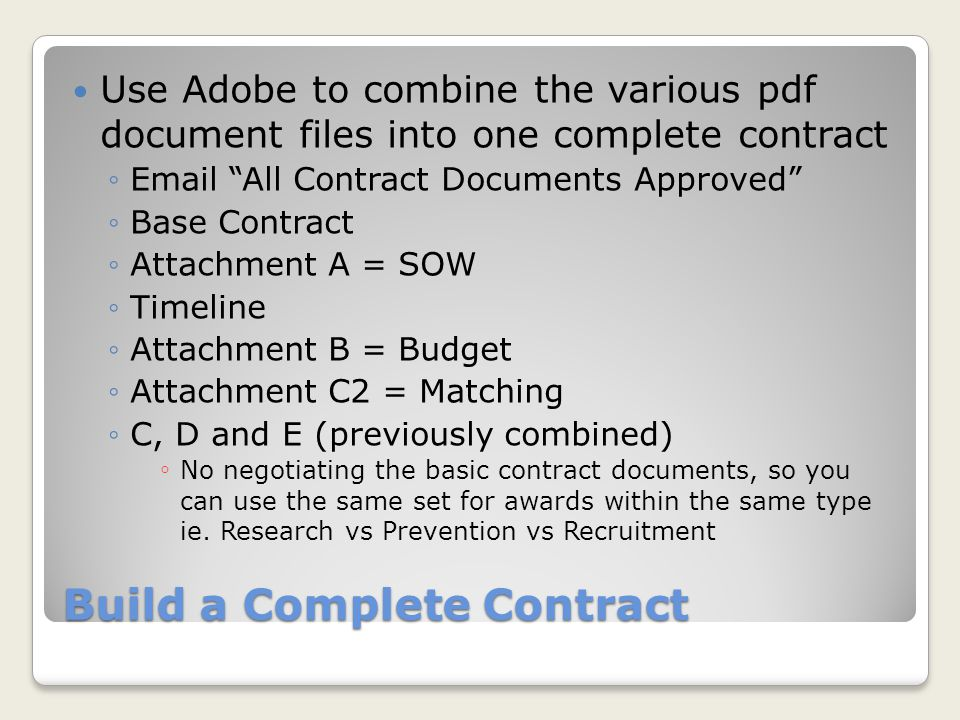 Build a Complete Contract