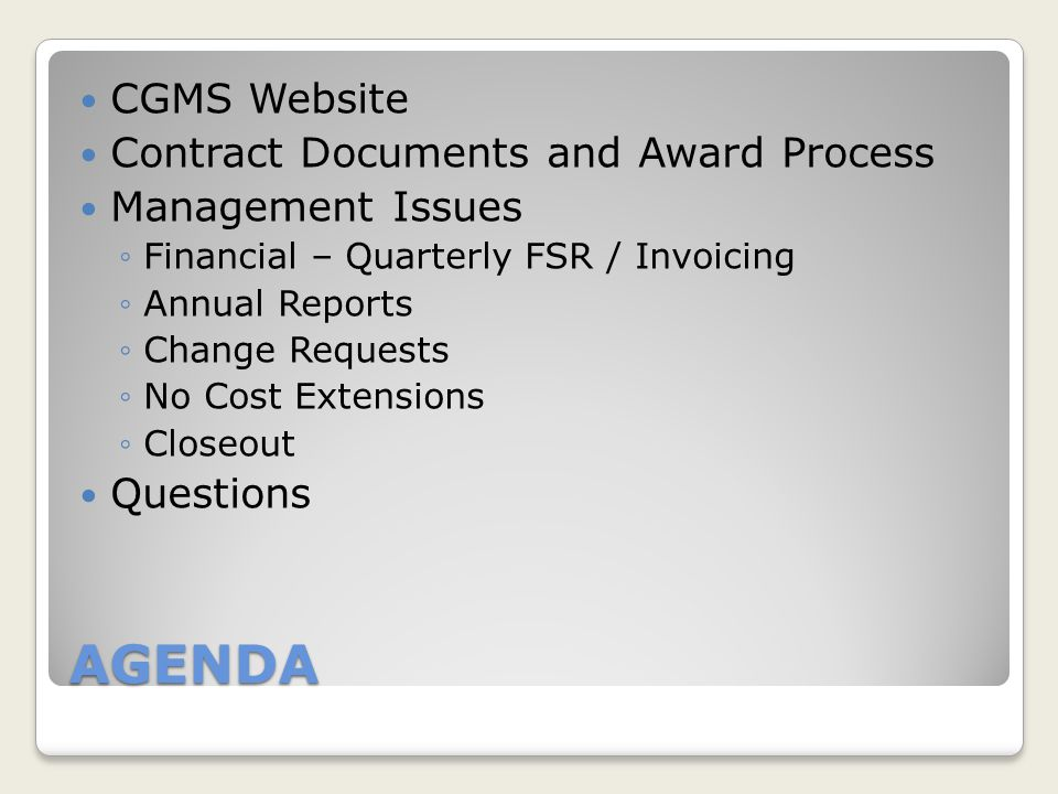 AGENDA CGMS Website Contract Documents and Award Process