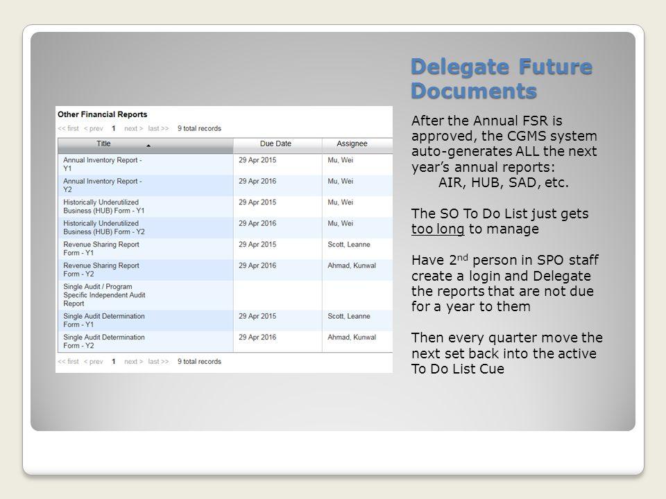 Delegate Future Documents
