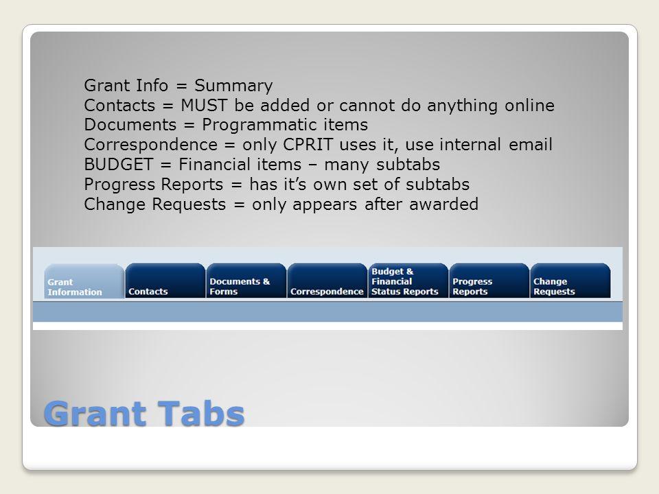 Grant Tabs Grant Info = Summary