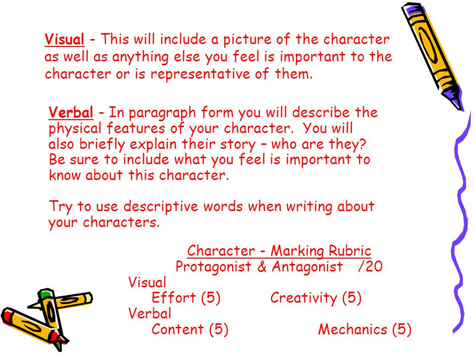 Try to use descriptive words when writing about your characters.