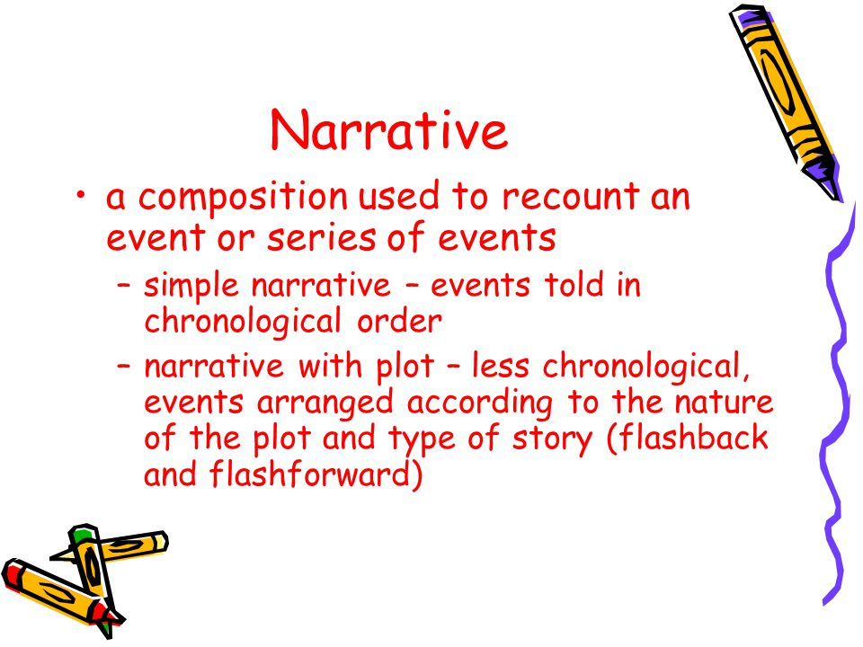Narrative a composition used to recount an event or series of events