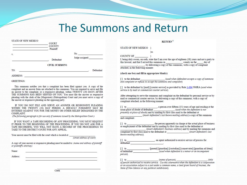 The Summons and Return