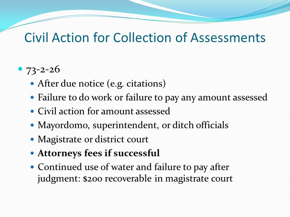 Civil Action for Collection of Assessments