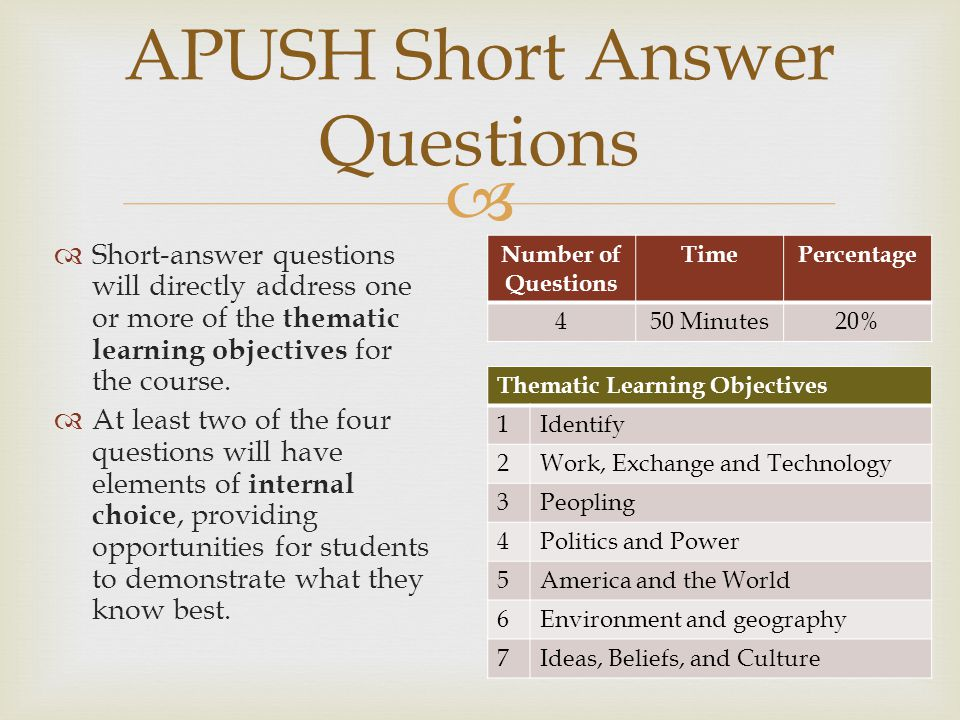 APUSH Short Answer Questions