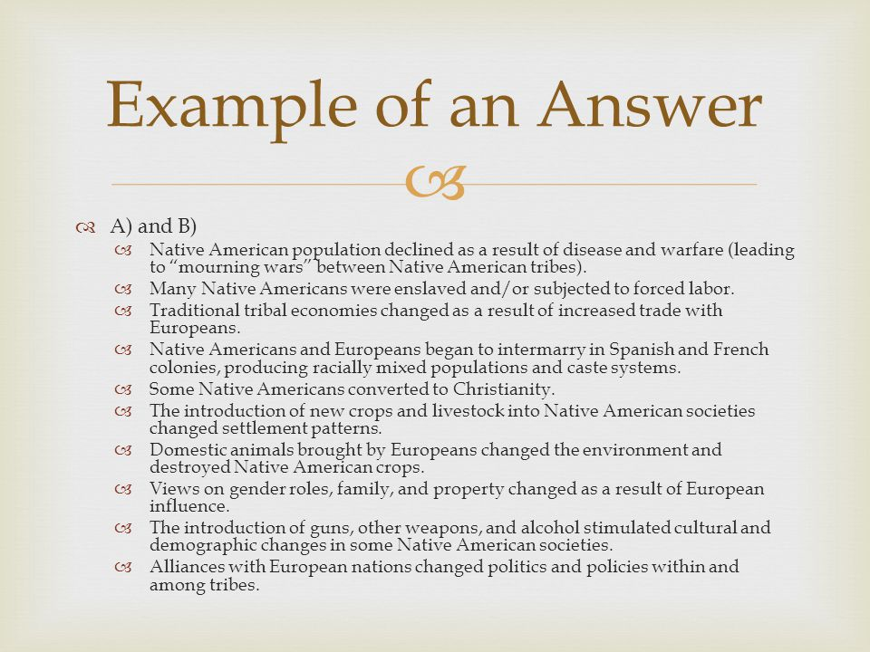 Example of an Answer A) and B)