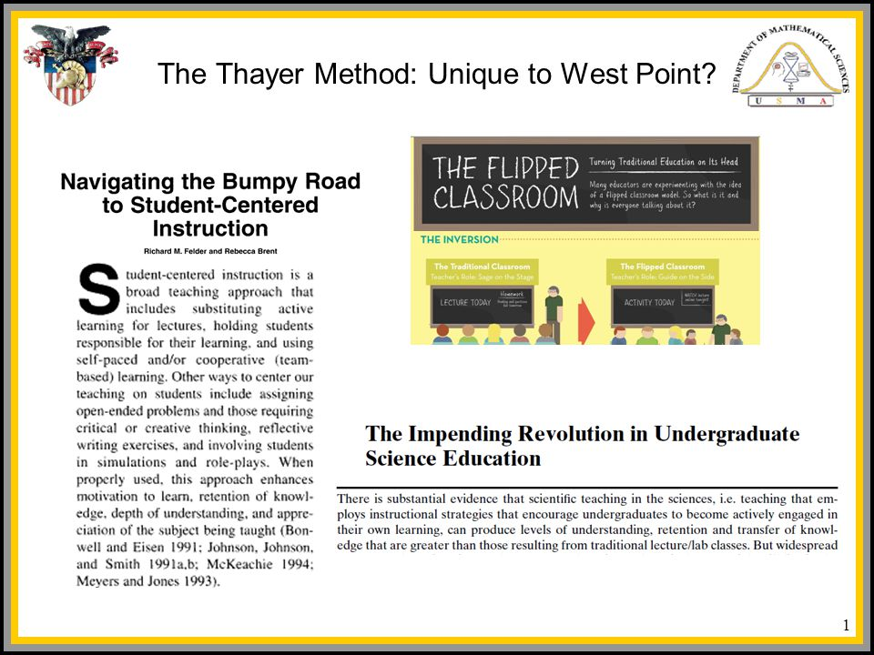 The Thayer Method Unique To West Point Ppt Video Online Download
