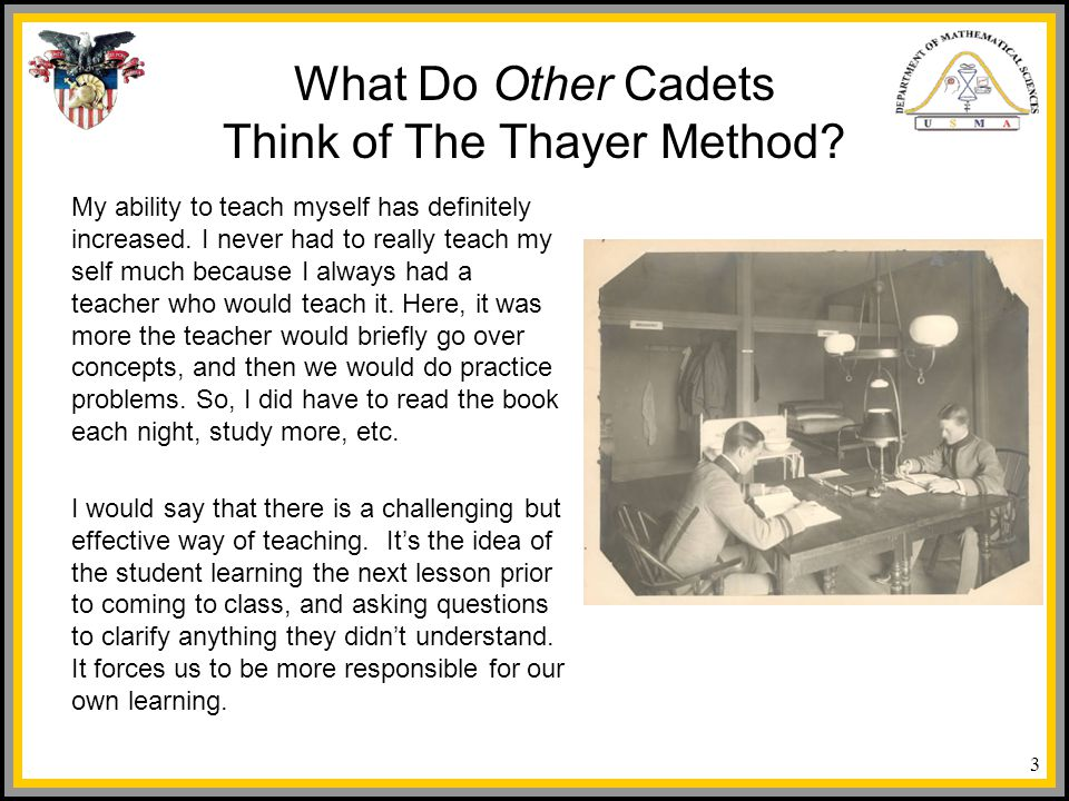 What Do Other Cadets Think of The Thayer Method