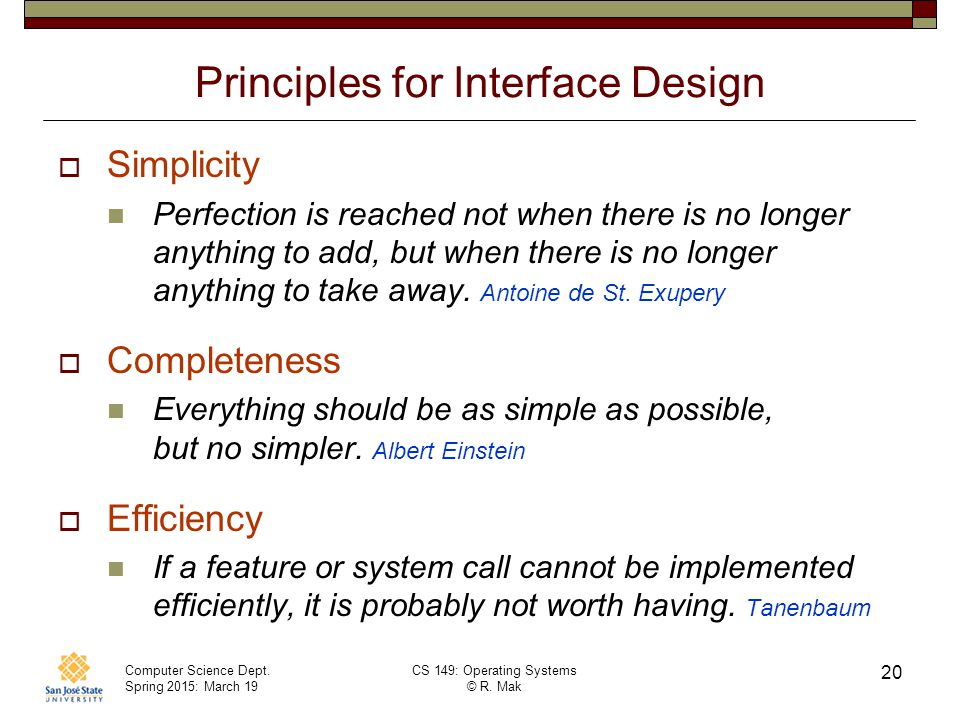Principles for Interface Design