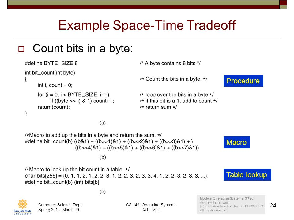 Example Space-Time Tradeoff