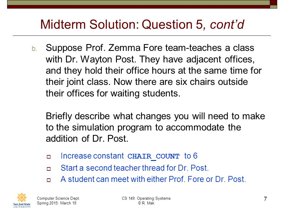 Midterm Solution: Question 5, cont'd