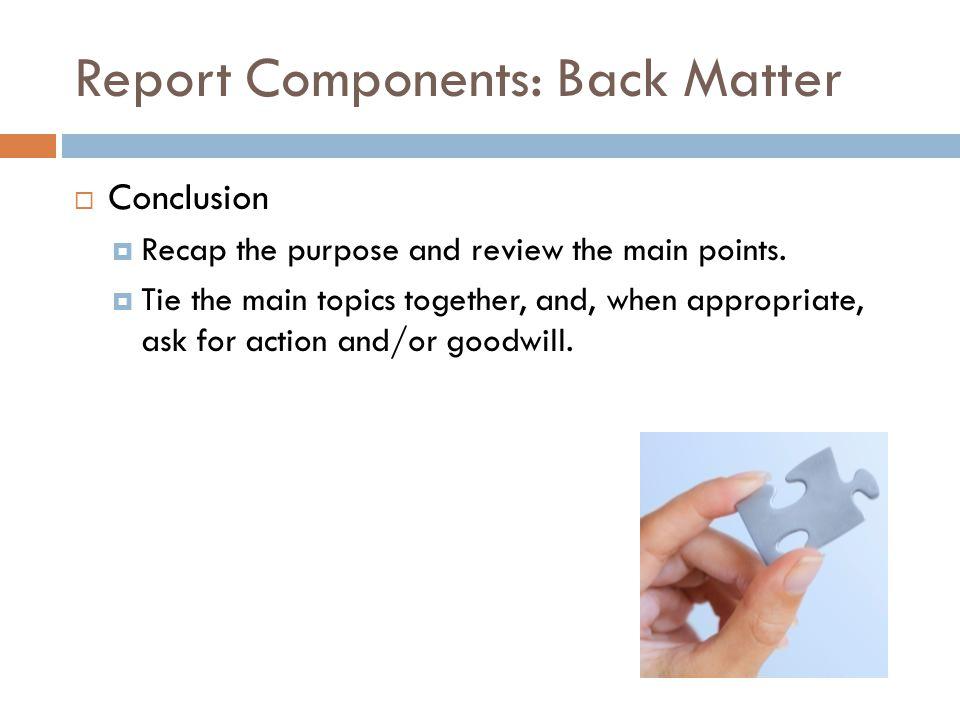 Report Components: Back Matter