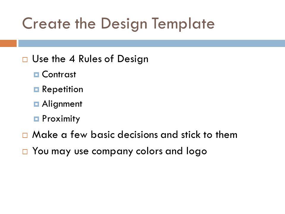 Create the Design Template