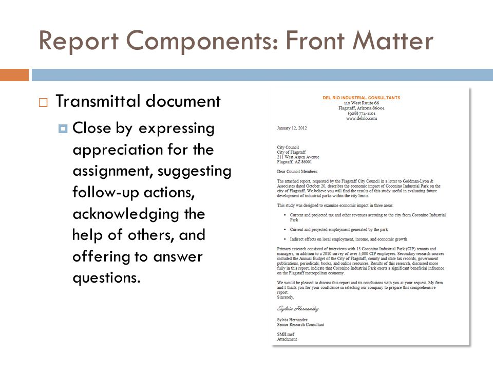 Report Components: Front Matter