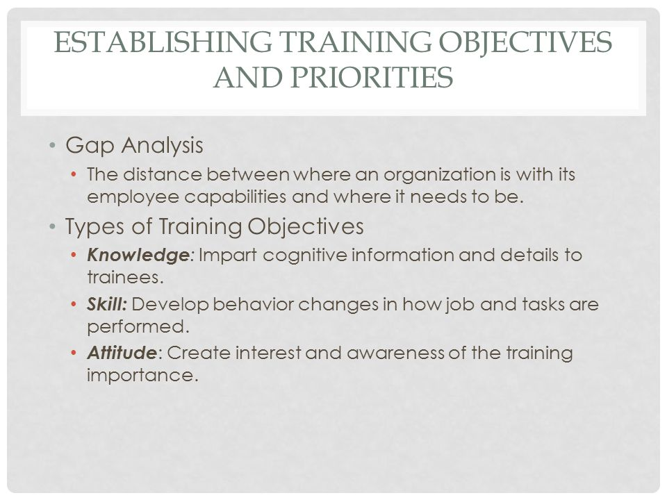 Establishing Training Objectives and Priorities