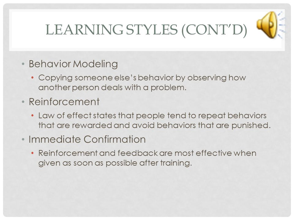 Learning Styles (cont'd)