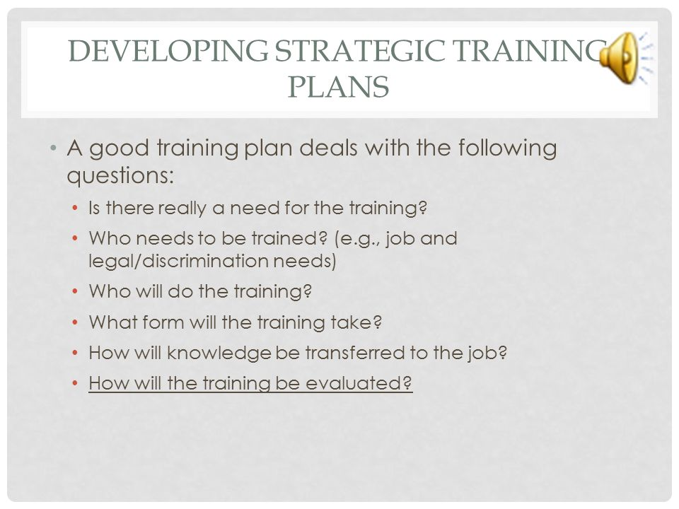 Developing Strategic Training Plans