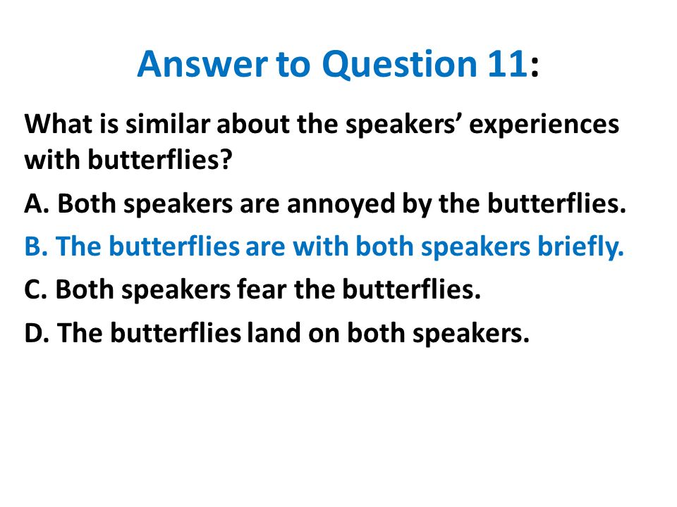 Answer to Question 11: