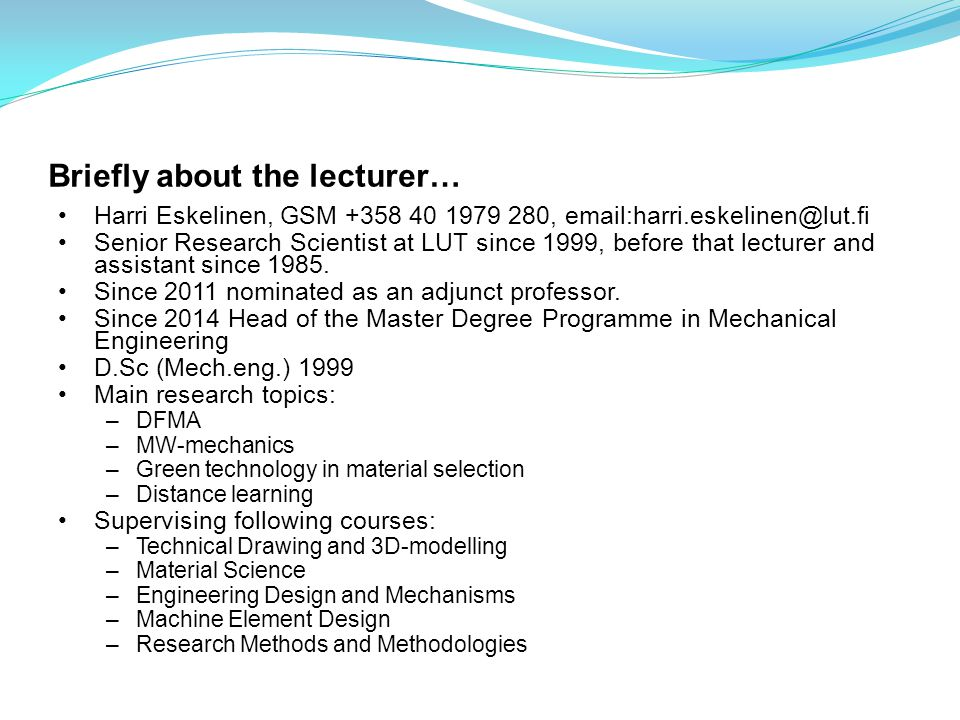 Briefly about the lecturer…