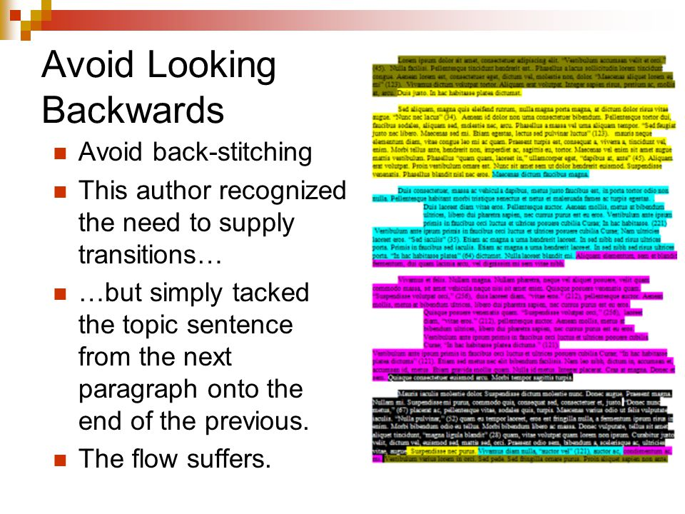 Avoid Looking Backwards